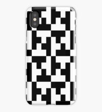 Black And White Tetris Blocks iPhone Case