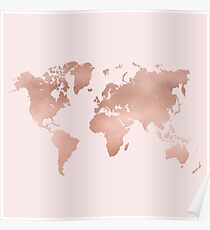 Pink world map posters redbubble rose gold world map poster gumiabroncs Choice Image