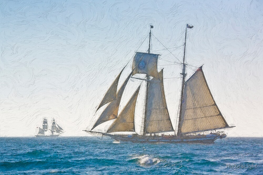 Impasto stylized photo of the Tall Ship Californian at Dana Point Harbor, CA US, with Tall Ship Bounty in background. by NaturaLight