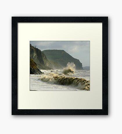 Winter morning on Charmouth Beach  Framed Print