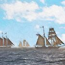 Impasto stylized photo of the Tall Ships American Pride, Californian, and Exy Johnson off Dana Point, CA US. by NaturaLight