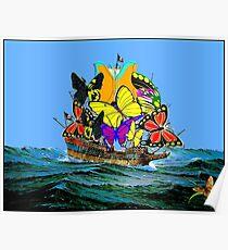 SCHMETTERLING: Abstraktes psychedelisches Piraten-Segelschiff Poster