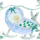 Baby Boy with Birds and Bunny by Claire Bull