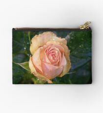 Apricot Rose and Raindrops Studio Pouch