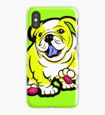 Happy Bulldog Puppy Yellow and White  iPhone Case/Skin