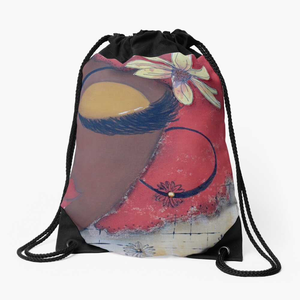 Sassy Chocolate Girl, African American Drawstring Bag Front