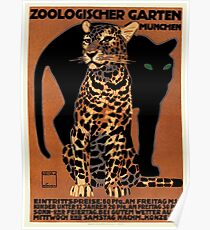 1912 Ludwig Hohlwein Leopard Munich Zoo Poster Poster
