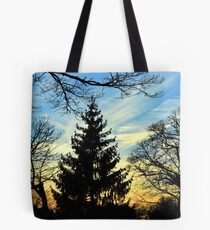 Silhouetted trees at sunset! Tote Bag