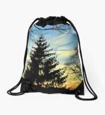 Silhouetted trees at sunset! Drawstring Bag