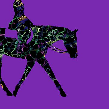 BIG - Floral Hunter Horse In Purple by Stuffnthingz