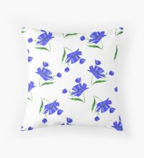 Cornflowers drawn on a white background. Throw Pillow