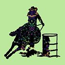 Floral Barrel Racer Female On Green by Stuffnthingz