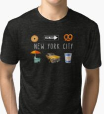 New York City Icons with Pretzel, Bagel, One Way Sign and Greek Coffee Cup Tri-blend T-Shirt