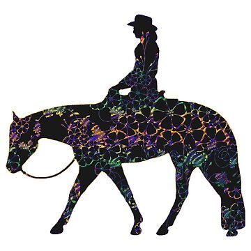 BIG - Floral Western Horse Female Rider On Peach by Stuffnthingz