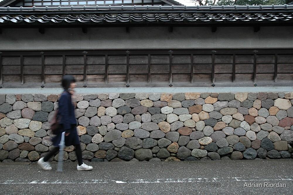 Stone wall; Kanazawa, Japan by Adrian Riordan