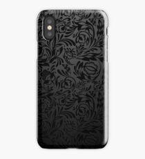 Black  floral wallpaper pattern. iPhone Case