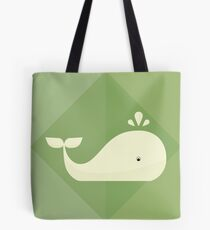 Whale on green Tote Bag
