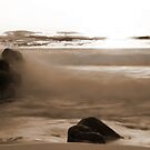 Waves on a beach by adbetron