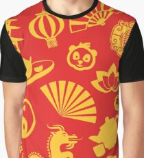 Happy Chinese New Year: Chinese Golden Decorations (In Red) Graphic T-Shirt