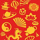 Happy Chinese New Year: Chinese Golden Decorations (In Red) by aidadaism