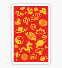 Happy Chinese New Year: Chinese Golden Decorations (In Red) Sticker
