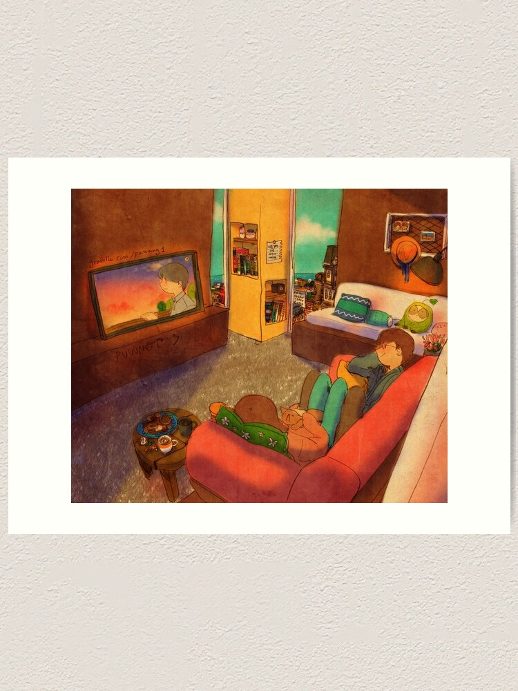 Alternate view of Watching TV Art Print
