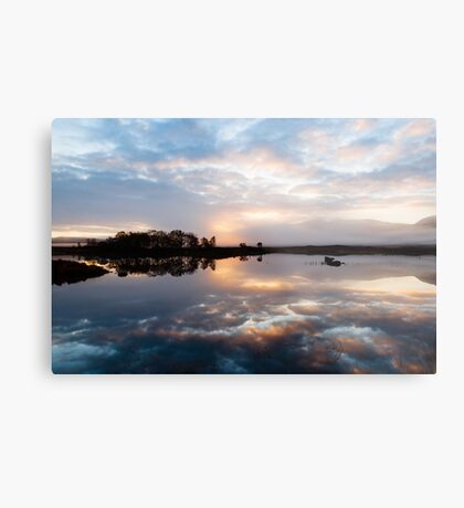 Pink and Blue Misty Sunrise Reflected in Loch Ba Metal Print