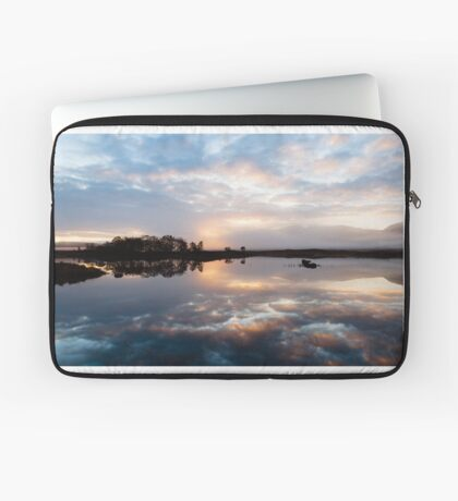 Pink and Blue Misty Sunrise Reflected in Loch Ba Laptop Sleeve