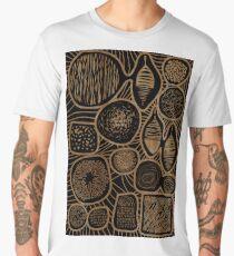 Vintage sepia pattern - linogravure style Men's Premium T-Shirt