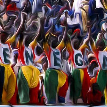 Senegal football fans oil paint effect. by funkyworm