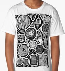 Black and white pattern - linogravure style Long T-Shirt