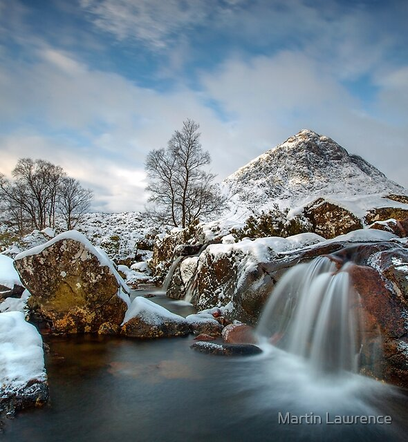 The River Coupal Waterfall and Buachaille Etive Mor Glencoe Scotland by Martin Lawrence