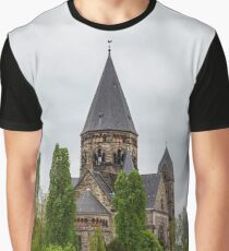 Beautiful cathedral in Metz, France, acloudy weather, autumn Graphic T-Shirt