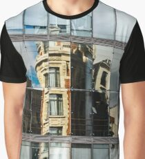 Abstract reflections in big glass wall of modern building, high resolution panoramic view, Belgium Graphic T-Shirt