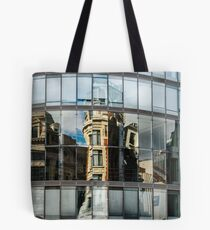 Abstract reflections in big glass wall of modern building, high resolution panoramic view, Belgium Tote Bag