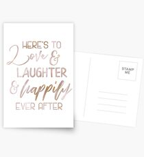 Rose Gold Here's to Love - Wedding Sign Fairytale Quote Gift Postcards