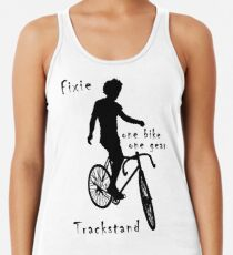 Fixie - one bike one gear - Trackstand (white) Racerback Tank Top