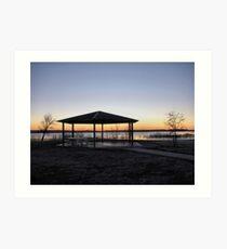 Picnic Shelter At Sunrise Art Print