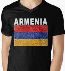 Armenia Flag High Detail Artistic Men's V-Neck T-Shirt