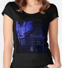 Neon Blue T.A.R.D.I.S. Women's Fitted Scoop T-Shirt