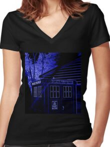Neon Blue T.A.R.D.I.S. Women's Fitted V-Neck T-Shirt