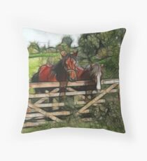 Horses over the fence Throw Pillow