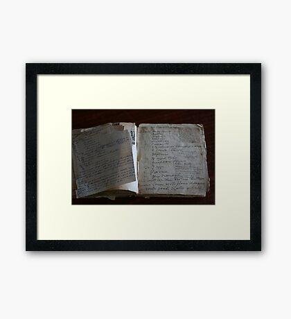 Nannie's Recipe book Framed Print