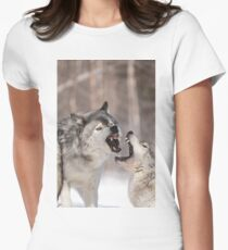 Timber wolves in winter Womens Fitted T-Shirt