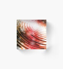 Yellow Black Red Circle on a White Background Abstract Art Acrylic Block