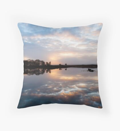Pink and Blue Misty Sunrise Reflected in Loch Ba Throw Pillow