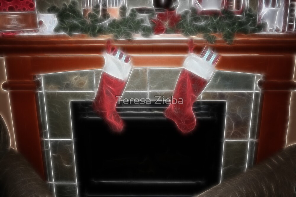 Fireplace at Christmas by Teresa Zieba