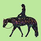 BIG - Floral Western Horse Female Rider On Green by Stuffnthingz