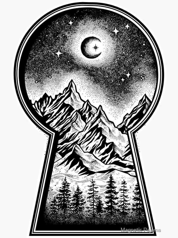 Ojo de la cerradura que revela las montañas nevadas, la luna y las estrellas de MagneticMama