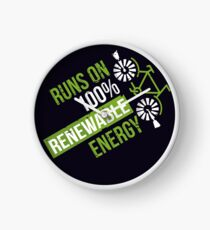 Runs On 100% Renewable Energy Environmentalist Gifts Clock